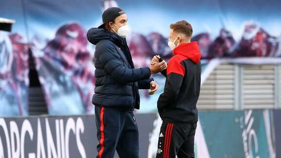 RB Leipzig - Bayern München - Yussuf Poulsen (9, RB Leipzig), Joshua Kimmich (6, Bayern)