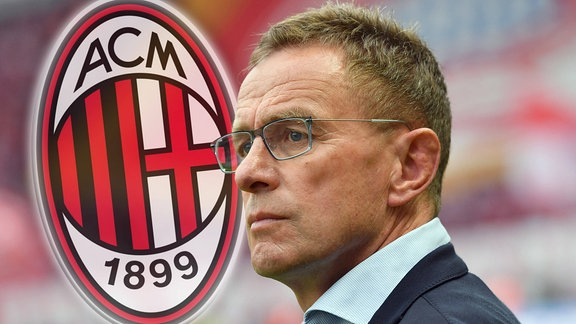 Ralf Rangnick und Logo AC Milan