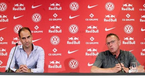 v.l.: Oliver Mintzlaff (Vorstandsvorsitzender RB Leipzig) und Ralf Rangnick, Cheftrainer und Sportdirektor von RB Leipzig.