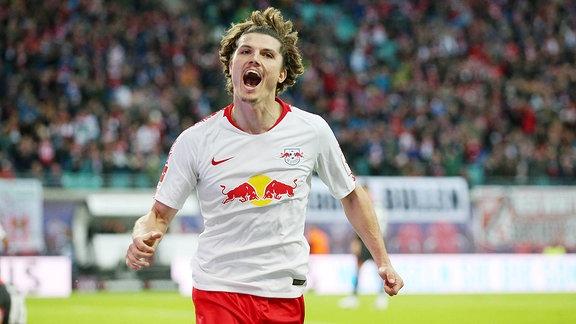 RB Leipzig Torjubel nach dem 3:0 durch Marcel Sabitzer.