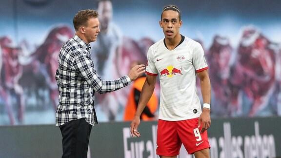 Julian Nagelsmann mit Yussuf Poulsen