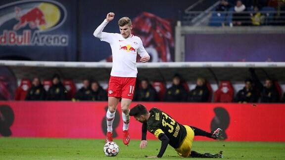 Timo Werner (11, RB Leipzig) und Julian Weigl (33, Dortmund).