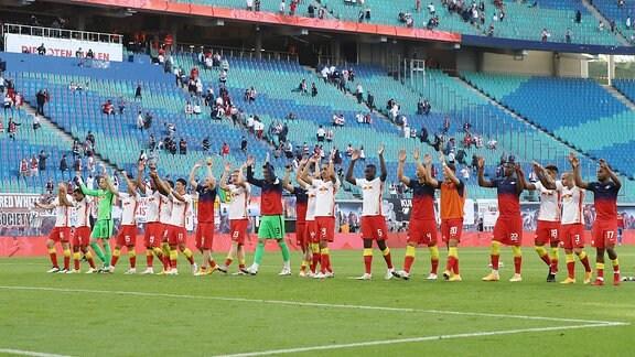 Mannschaft von RB Leipzig, Schlussjubel.