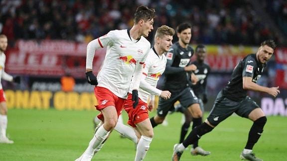 Patrick Schick (21, RB Leipzig) und Timo Werner (11, RB Leipzig).