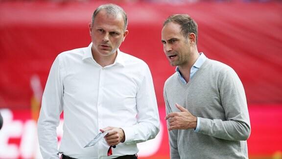 Jochen Schneider (RB Leipzig Direktor und Internationalisierung) und Oliver Mintzlaff (Vorstandsvorsitzender RB Leipzig).