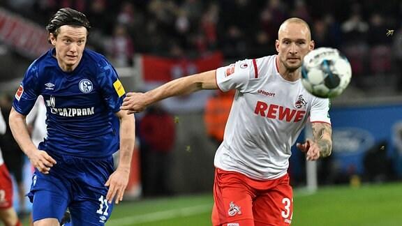 Im Zweikampf Michael Gregoritsch 11, FC Schalke 04 Toni Leistner  37, 1.FC Köln