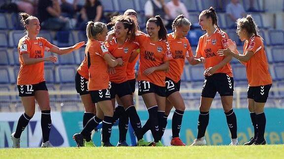 1. FFC Frankfurt gegen FF USV Jena  Torjubel
