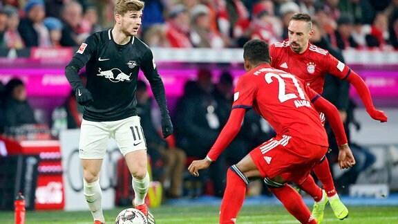 Timo Werner im Hinspiel beim FC Bayern