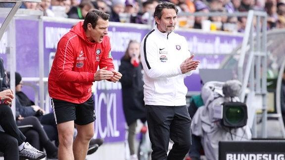 Co Trainer Marc Hensel (Aue) und Trainer Dirk Schuster, Erzgebirge Aue