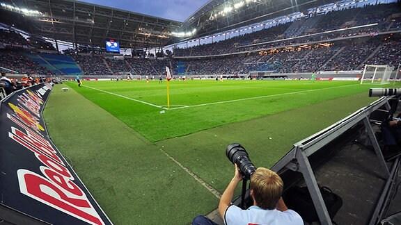 Das frühere Leipziger Zentralstadion/Red-Bull-Arena; Fußball/2. Bundesliga, RB Leipzig gegen Erzgebirge Aue (22. August 2014)