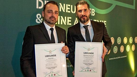 Dynamos Co-Trainer Patrick Mölzl und Cheftraienr Cristian Fiel.