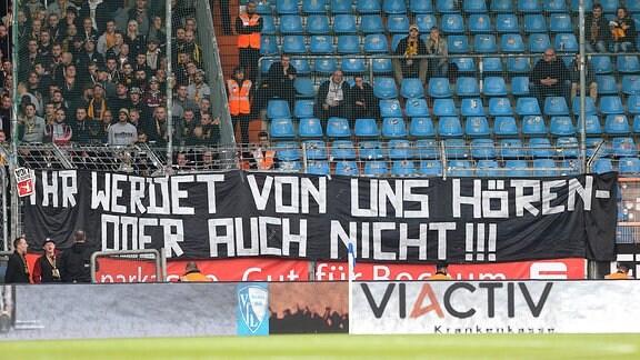 Schriftzug vor den Dresdener Fans - Ihr werdet von uns hören - oder auch nicht