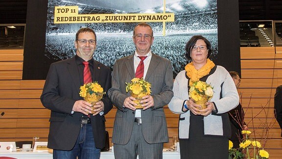 (v.l.): Vize-Präsidet Michael Winkler, Präsident Andreas Ritter und Vize-Präsidentin Diana Schantin. SG Dynamo Dresden