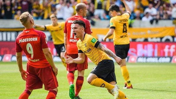 Dresdens Baris Atik jubelt nach seinem Treffer zum 1:1