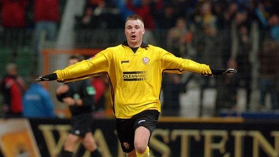 Klemen Lavric jubelt nach seinem Treffer zum 2:0