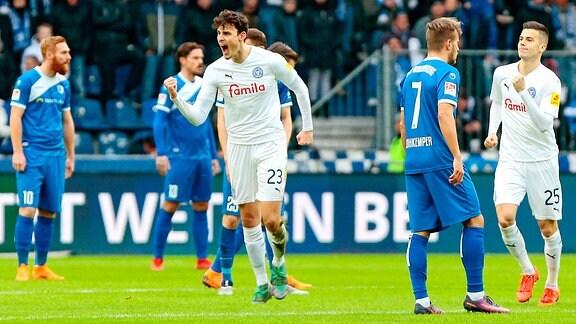 1. FC Magdeburg - Holstein Kiel emspor, v.l. Janni Serra (Holstein Kiel, 23) Jubel, Torjubel, jubelt über das Tor