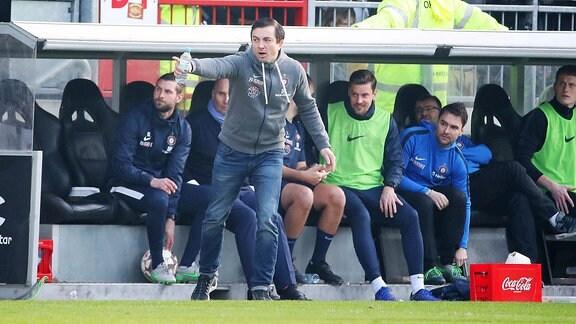 FC St.Pauli Hamburg vs. FC Erzgebirge Aue - Trainer Daniel Meyer, Erzgebirge Aue.