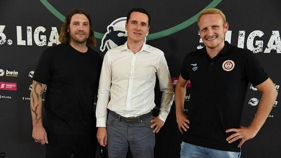 Torsten Frings (Trainer des SV Meppen), - Manuel Hartmann (Abteilungsleiter Spielbetrieb Ligen und Wettbewerbe) - Alf Mintzel (SV Wehen Wiesbaden)