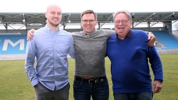 Sportdirektor Armin Causevic, Aufsichtsrat Uwe Hildebrandt und Geschäftsführer Michael Reichardt (Chemnitzer FC)