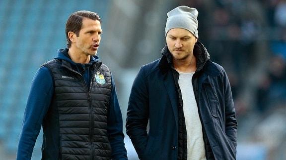 CFC-Trainer Patrick Glöckner (li.) mit Sportdirektor Armin Causevic