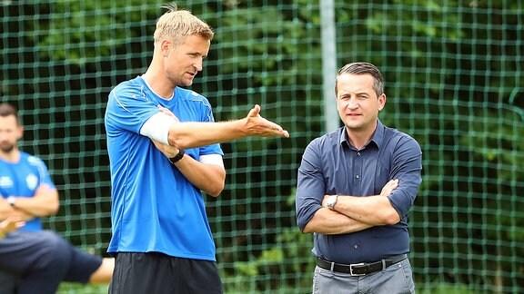 Trainer David Bergner (Chemnitz) und Sportdirektor Thomas Sobotzik.
