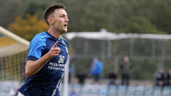Torjubel Christian Bickel, Chemnitzer FC, nach dem Tor zum 0:1.