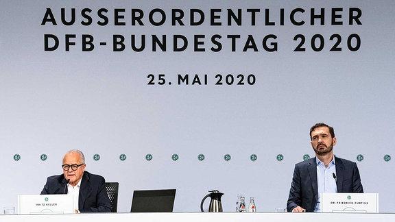 98. Ausserordentlicher Bundestag des DFB Das Praesidium des Deutschen Fussball-Bundes hat für Montag, den 25. Mai 2020 einen Ausserordentlichen Bundestag einberufen, bei dem die Auswirkungen der Corona-Pandemie auf den deutschen Fussball im Vordergrund stehen.