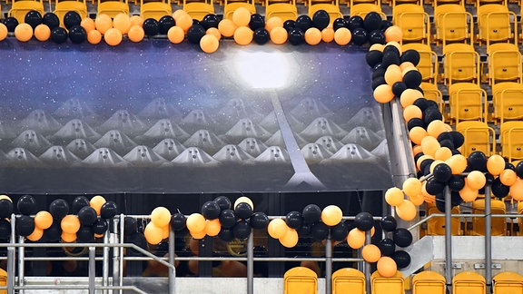 Dynamo-Geister auf der Tribüne im DFB-Pokalspiel von Dynamo Dresden