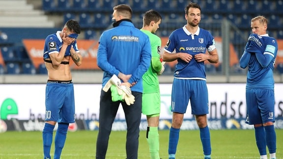 Jürgen Gjasula,Torwart Alexander Brunst,Torwart Morten Behrens, Christian Beck, Sören Bertram (v.l., 1. FC Magdeburg)
