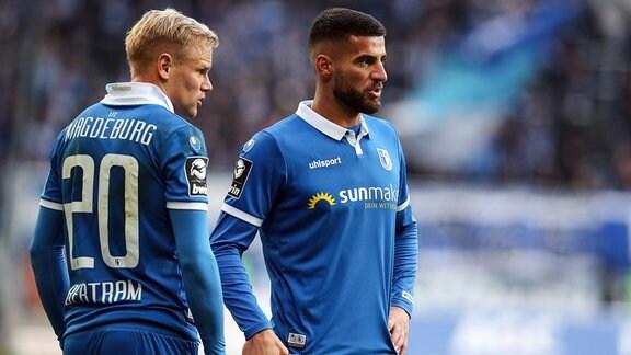Jürgen Gjasula (re.) und Sören Bertram (1. FC Magdeburg)