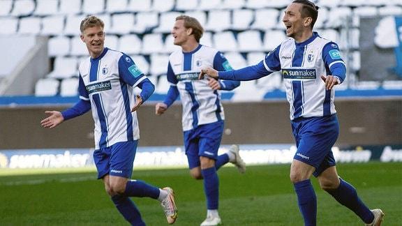 Baris Atik, 1.FC Magdeburg,Torjubel zum 1:0.