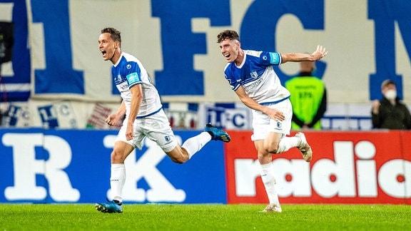 Tor zum 1:0 von Alexander Bittroff und Florian Kath, beide FCM.