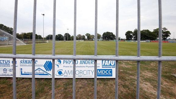 Magdeburgs Trainingsplatz hinter einem Zaun