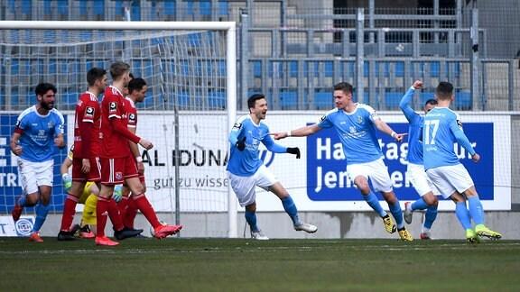 Chemnitzer Spieler jubeln