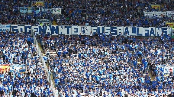 Fanblock der Magdeburger Fans