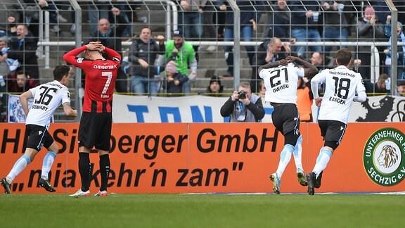 Spieler des TSV 1860 München jubeln