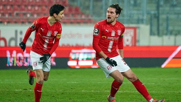 Jonas Nietfeld und Niklas Landgraf, Hallescher FC