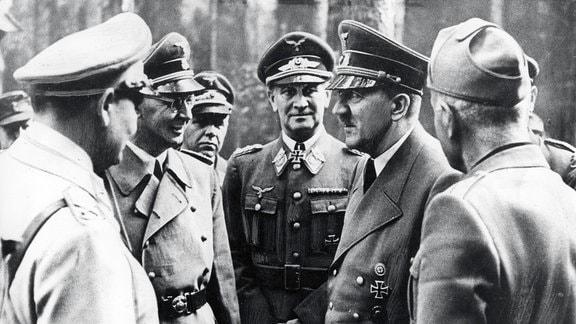 Hermann Goering, Heinrich Himmler, General Loerzer, Adolf Hitler, Benito Mussolini