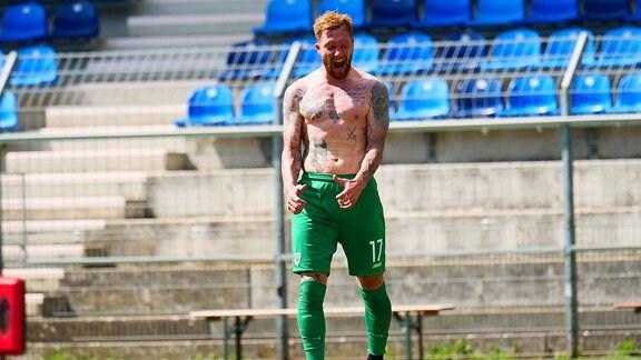 Jan Loehmannsroeben Muenster, 17 nach dem Abpfiff beim Spiel SV Waldhof Mannheim vs. Preussen Muenster in der 3. Liga am 27.06.2020.