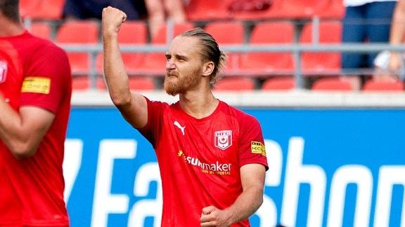 Bjoern Jopek (HFC) nach seinem Treffer zum 1:0