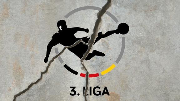 Logo der 3. Liga auf einer Mauer mit Riss