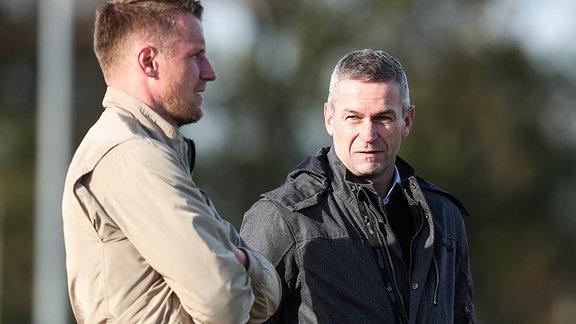 Geschäftsführer Mario Kallnik re. und Leiter Lizenzspielerabteilung Maik Franz 1. FC Magdeburg