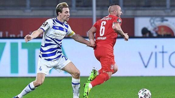 Vincent Vermeij  Duisburg , links - Toni Lindenhahn  Halle , rechts