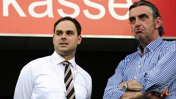 Dresdens Geschäftsführer Robert Schäfer (li.) und Sportdirektor Ralf Minge. 2015