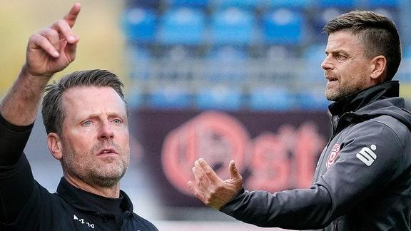Rico Schmitt ( Trainer FC Carl Zeiss Jena) und Torsten Ziegner (Trainer Hallescher FC)