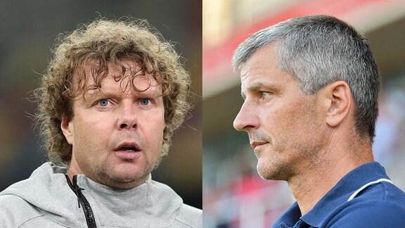 Stefan Krämer (1. FC Magdeburg) und Jens Härtel (FC Hansa Rostock)