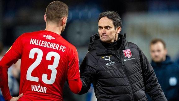 Stipe Vucur, Hallescher Fc und Florian Schnorrenberg, Trainer HFC.