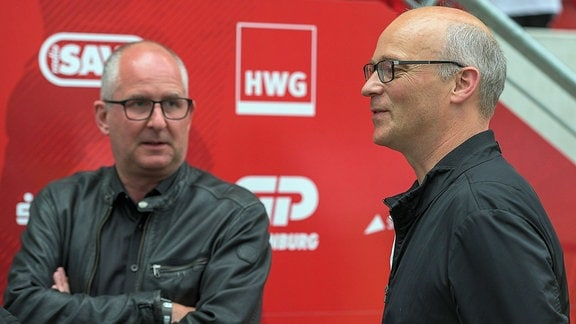 Jens Rauschenbach (Vorstand HFC) und Jürgen Fox (Chef der Saalesparkasse, Vorstand HFC)