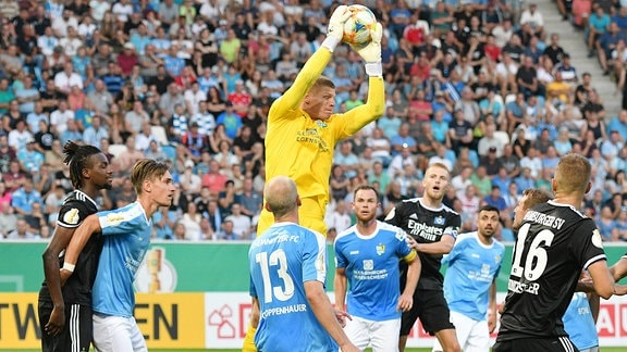 Jakub Jakubov (Torwart, Chemnitzer FC) mit Glanzparade