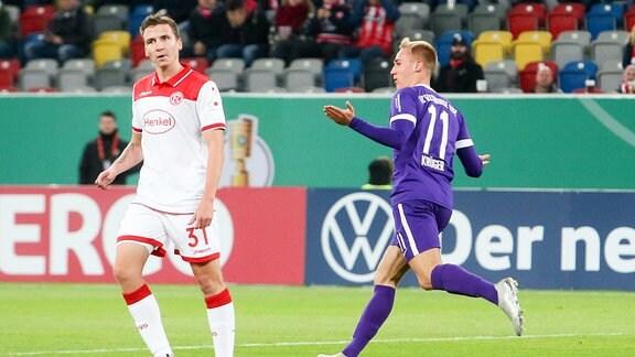 Tor für Aue - Florian Krüger (11, Aue) jubelt nach seinem Treffer zum 0:1.